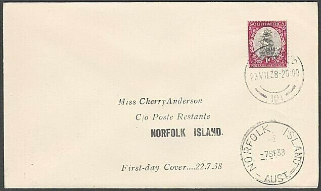 SOUTH AFRICA TO NORFOLK ISLAND 1938 cover Empire Airmail Scheme FDC.........M646