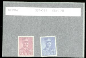 NORWAY Sc#358-359 MINT NEVER HINGED Complete Set