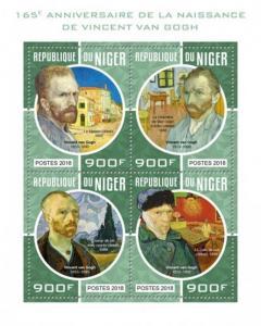 Niger - 2018 Artist Vincent van Gogh - 4 Stamp Sheet - NIG18211a