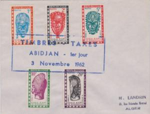 Ivory Coast 1F, 2F, 5F, 10F and 20F Masks and Heads Postage Due 1962 Timbre-T...
