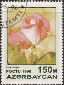Azerbaijan 600 - Cto - 150m Pink Rose, Rose Gaujard (1996) (cv $0.60) (1)