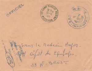 France Military Free Mail 1971 56-Lann-Bihouf Marine, Morbihan to Brest with ...