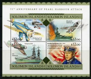 SOLOMON ISLANDS  2016 75th  ANN OF THE ATTACK ON  PEARL HARBOR  SHEET  MINT NH