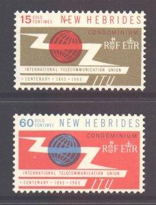 Vanuatu New Hebrides Scott 108/109 - SG110/11, 1965 ITU Set MNH**