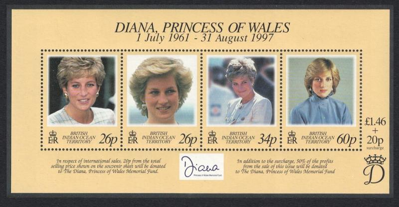 BIOT Diana Princess of Wales Commemoration MS SG#MS214 SALE BELOW FACE VALUE