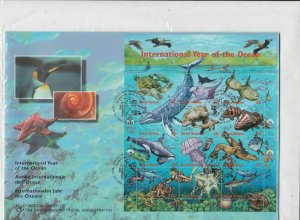 United Nations 1998 Int Year of the Ocean Large FDC Stamps Sheet Cover R 18827