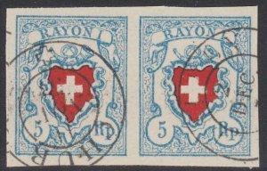 SWITZERLAND  An old forgery of a classic stamp - pair.......................B209
