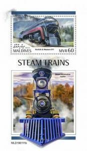 Z08 MLD190111b MALDIVES 2019 Steam trains MNH ** Postfrisch