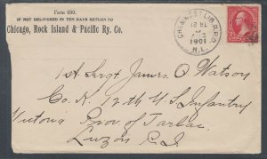 US Sc 251 on 1901 Railway Post Office Cover to Soldier in Philippines