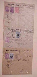 BULGARIA  3 REGISTERED COVERS PUNCHED 1919 PHILIPPOPLE B/S VIDIN