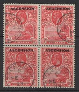 ASCENSION SG3 1922 1½d ROSE-SCARLET FINE USED BLOCK OF 4