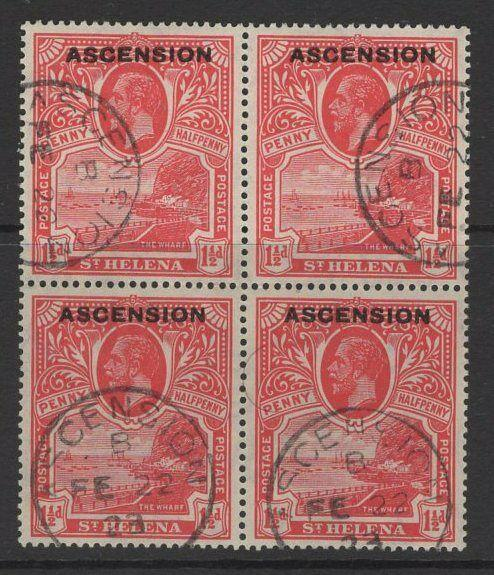 ASCENSION SG3 1922 1½d ROSE-SCARLET FINE USED BLOCK OF 4