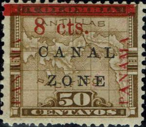 CANAL ZONE #18 1905 8c OVERPRINT ON 50c COLUMBIA ISSUE--MINT-OG/HINGED--VF