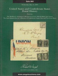 U.S. & Confederate States Postal History, R. A. Siegel, Sale #860, May 14, 2003