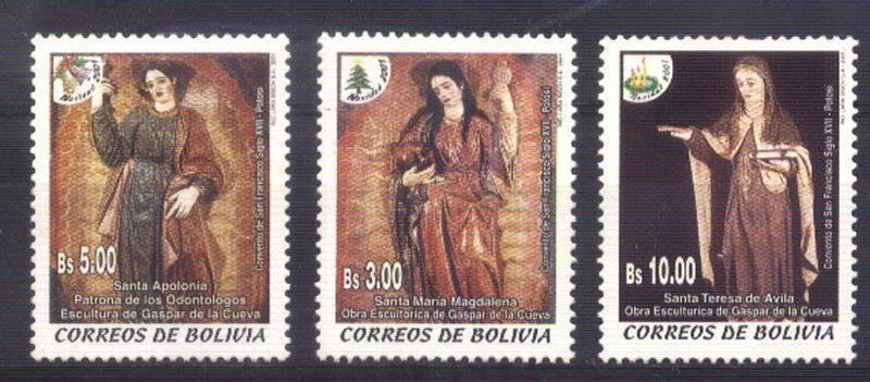 BOLIVIA 2001 CHRISTMAS RELIGION ART,YV 1103-5 Mi 1501-3 MNH