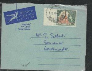 BASUTOLAND COVER (P0506B)1963 QEII FORMULA AEROGRAM+QEII 5C LERIBE TO ENGLAND