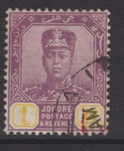 MALAYA JOHORE SG112 1922 10c DULL PURPLE & YELLOW USED