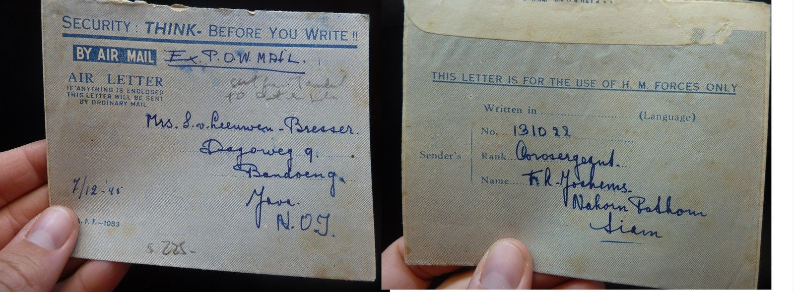 Thailand 1945 Ex POW letter to Java with message (19bek
