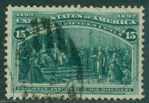 USA : 1893. Scott #238 Used. A Large, XF stamp with big margins & duplex cancel.