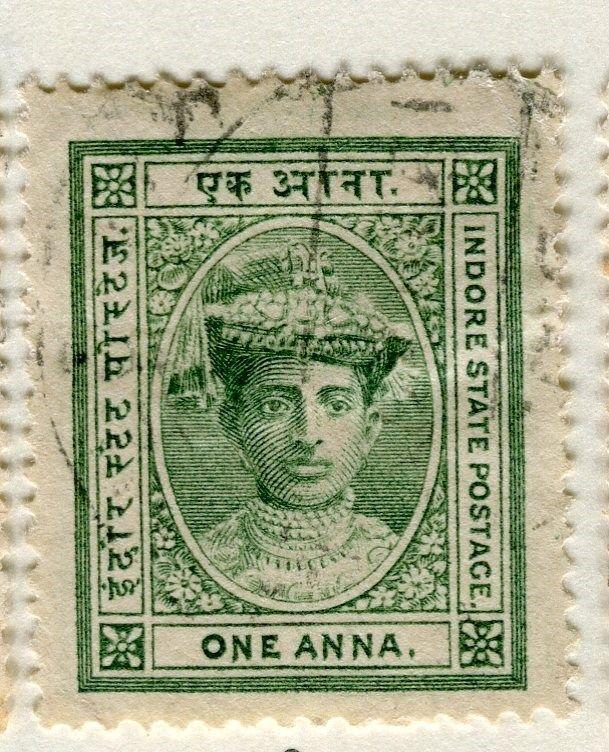 INDIAN STATES INDORE;  1904-20 early classic Tukoji Holkar issue used 1a. value