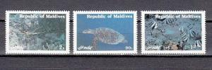 Maldives, Scott cat. 897-899. Marine Life issue. Turtle shown.