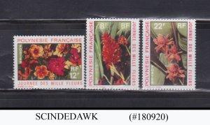FRENCH POLYNESIA - 1971 FLOWERS SET 3V MNH