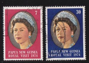 Papua New Guinea # 397-398, Royal Visit, Used, 1/2 Cat