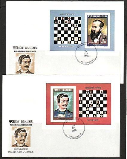 / Malagasy Rep., Scott cat. 1306-1307A. Chess Masters s/sheet. First day covers.