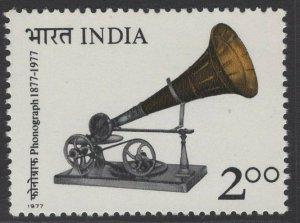 INDIA SG854 1977 CENTENARY OF SOUND RECORDING MNH