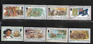 BRITISH VIRGIN ISLANDS,773-780, HINGE REMNANT , DISCOVERY VOYAGES