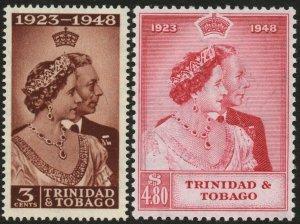TRINIDAD & TOBAGO-1948 Royal Silver Wedding Set Sg 259-260 L MOUNTED MINT V48608