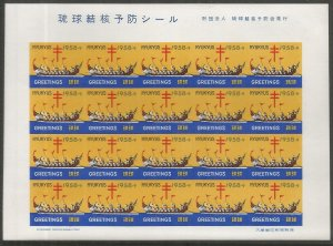 RYUKYU ISLANDS  WX7A  HINGED MINT ,  IMPERF,  SHEET OF 20,   PREVENTION SEAL