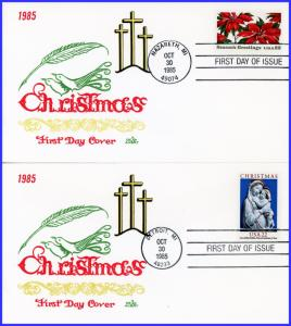 US FDC #2165-2166 Modonna and Poinsettia  AFDCS Court of Honor 5 - Aubry