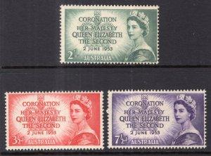 Australia 259-261 Queen Elizabeth II Coronation MNH VF