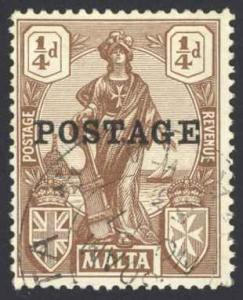 Malta Sc# 116 Used 1926 ¼p Standing Malta