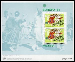 Portugal Madeira MNH S/S 74A Bailinho Folk Dances Europa 1981