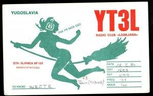 QSL QSO Radio Card Mounth of Witches,YT3L, Yugoslavia (Q3273)