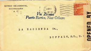 1918, El Salvador to Buffalo, NY, Censored (C2438)