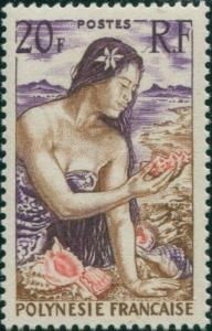 French Polynesia 1958 Sc#190,SG12 20f Polynesian Girl on beach MLH