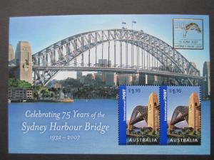 AUSTRALIA 2007 SG MS 2857(b) 75 YEARS SYDNEY HARBOUR BRIDGE O'PRINT SYDNEY MNH