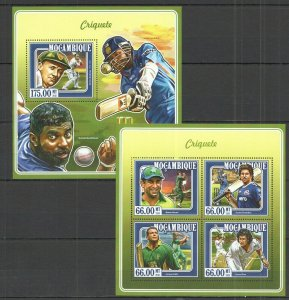 ST2341 2015 MOZAMBIQUE SPORT CRICKET GREAT PLAYERS KB+BL MNH