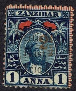 BRITISH EAST AFRICA 1897 ZANZIBAR SULTAN 21/2 ON 1A SG TYPE 12