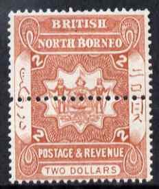 North Borneo 1888 Arms $2 perforated colour trial in oran...