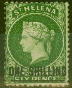 St Helena 1864 1s Dp Yellow-Green SG17 Fine & Fresh Mtd Mint