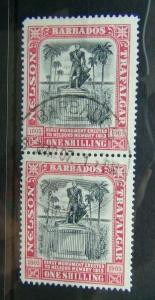 Barbados 1906 Nelson Centenary 1s Black & Rose in pair Superb Used SG151