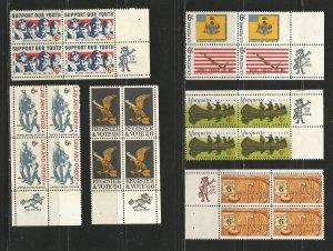 USA Stamps #1342,1343,1344,1353,1356,1357 Blocks of 4 (Zip Blocks)