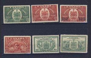 6x Canada S.D. Stamps  #E6-E7-E8-E9-E10-E11 MH VF E6-MNG Guide Value = $95.00