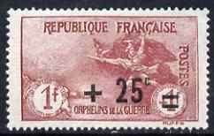 France 1926-27 War Ophans' Fund 1f + 25c carmine mounted ...