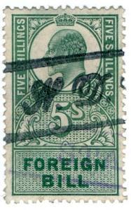 (I.B) Edward VII Revenue : Foreign Bill 5/- (1902)