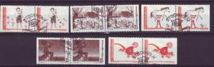 J9963 JL stamps @20%scv 1969 sweden set5 used #837-41 pairs